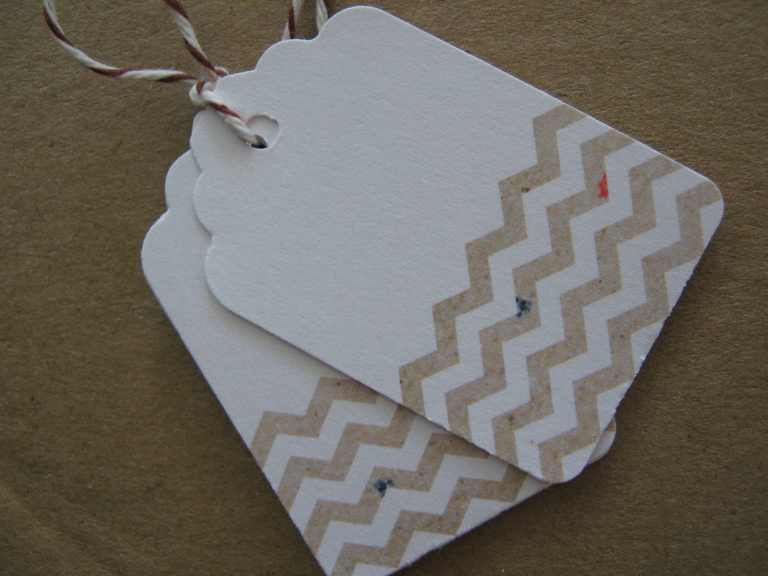 Kraft Chevron on White Embellishment Die Cut Tags for Gifts, Scrapbooking, Favors or Paper Crafts-  Set of 100