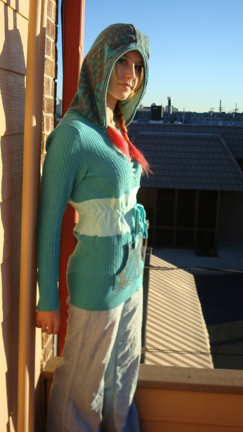 TEAL  FROST Upcycled Sweater Hoodie (M or S - adjustable)