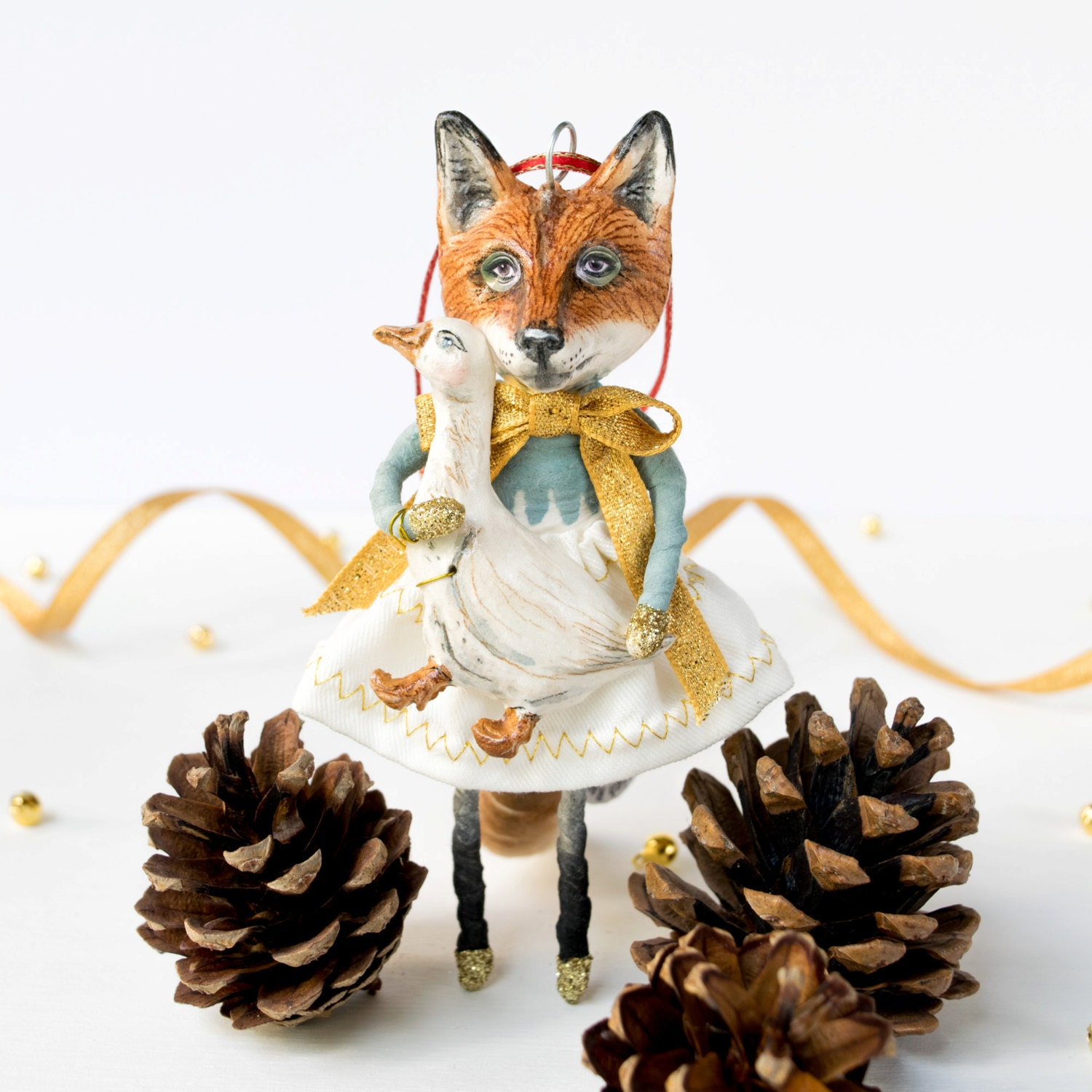 Hand crafted spun cotton and clay Fox and Goose fairy tale art doll hanging decoration. The Goose Girl. Heirloom gift. Valentines gift