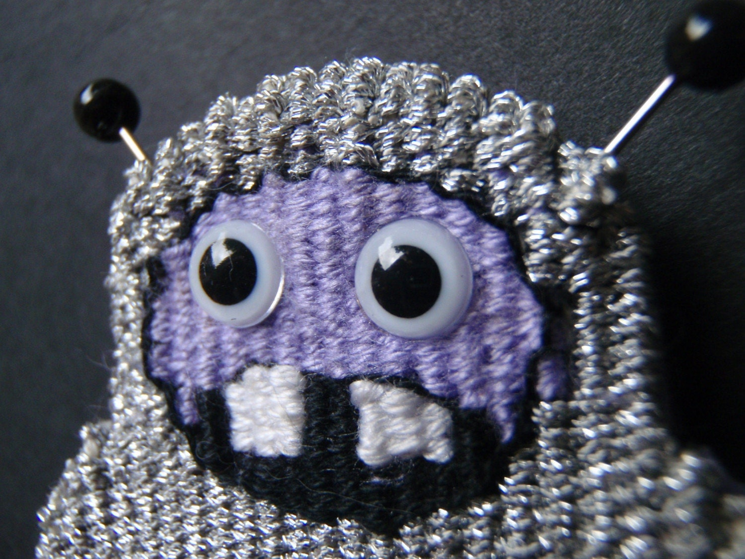 Metallic Silver Tapestry Monster Brooch- Flying Spaghetti Monster from Outer Space (sans spaghetti)