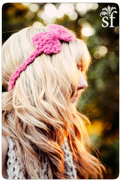 Mini Bow Headband in Pink Berry