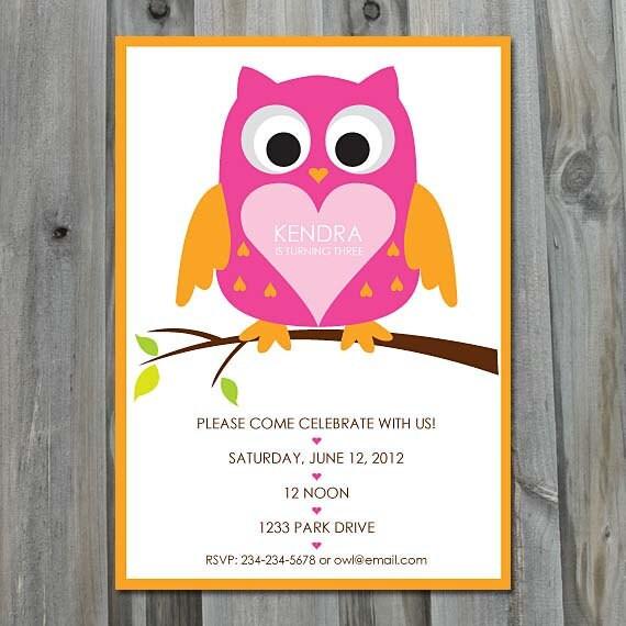 Diy owl birthday invitations