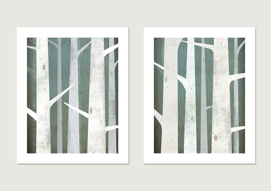 BIRCHES Diptych Giclee PRINT Pair - 11x14 inches Each - Signed Graphic Art Illustration by Native Vermont Studio - nativevermont
