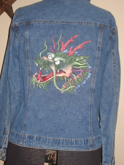 Hand Painted Dragon Jean Jacket By Prisillarose On Etsy
