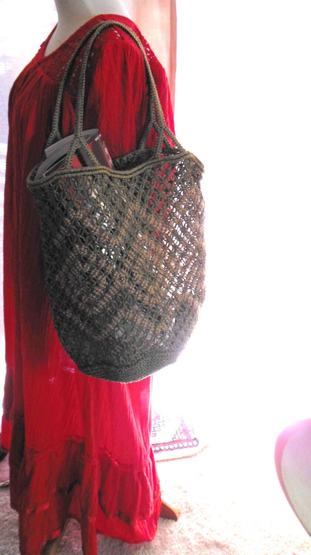 Crochet Shopping Bag : Vintage Macrame & Crochet Shopping Bag Handmade Geometric 2 sided w ...