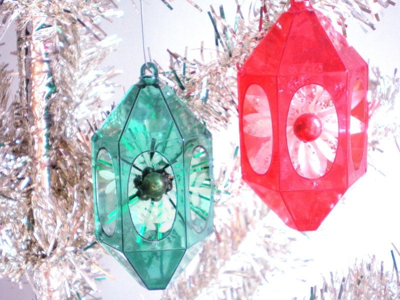 1950s Christmas Ornaments Flowers With By Archipelagovintage