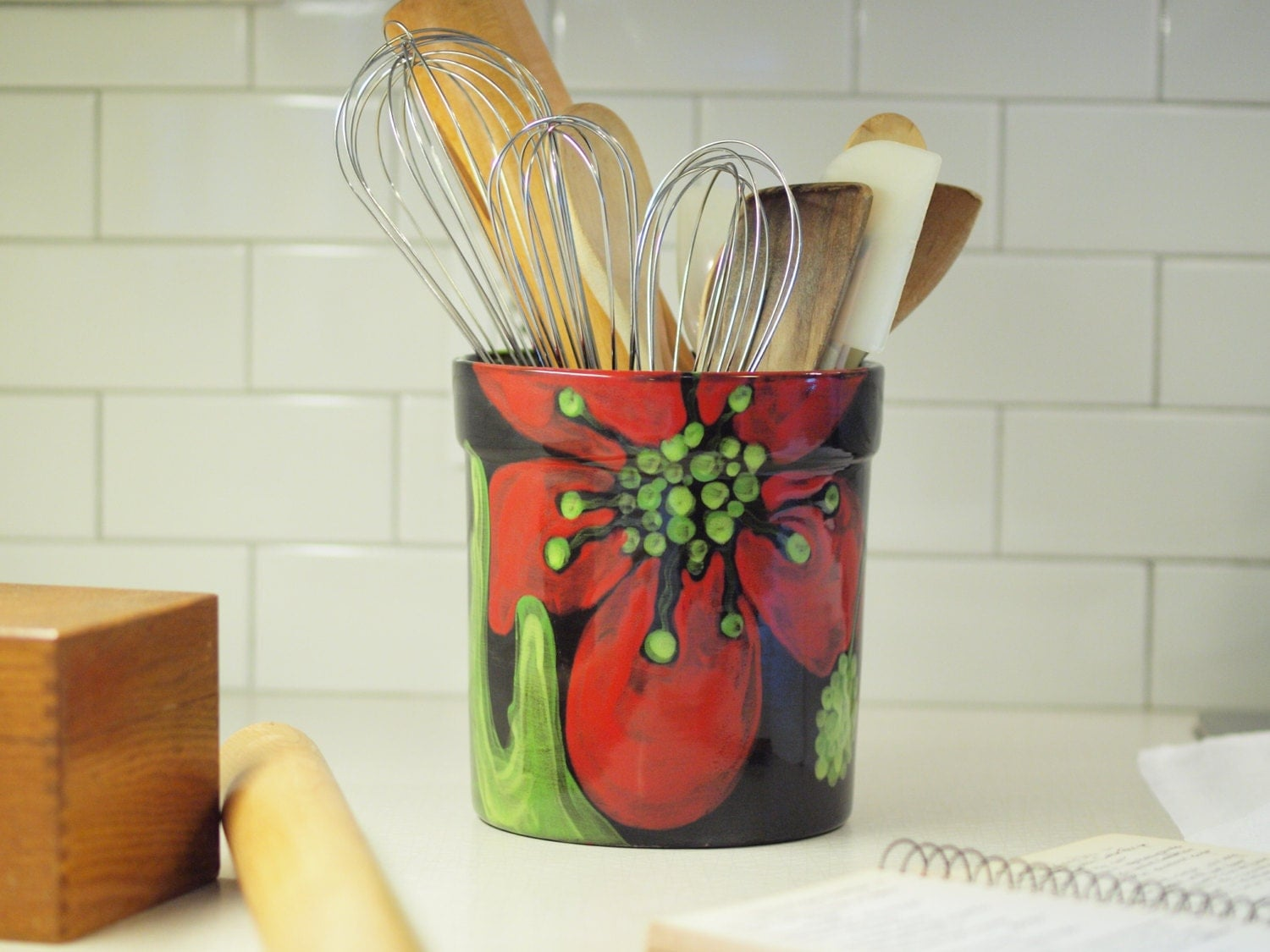 Kitchen Utensil Holder Xl Bold Colorful Red Poppy By Romyandclare