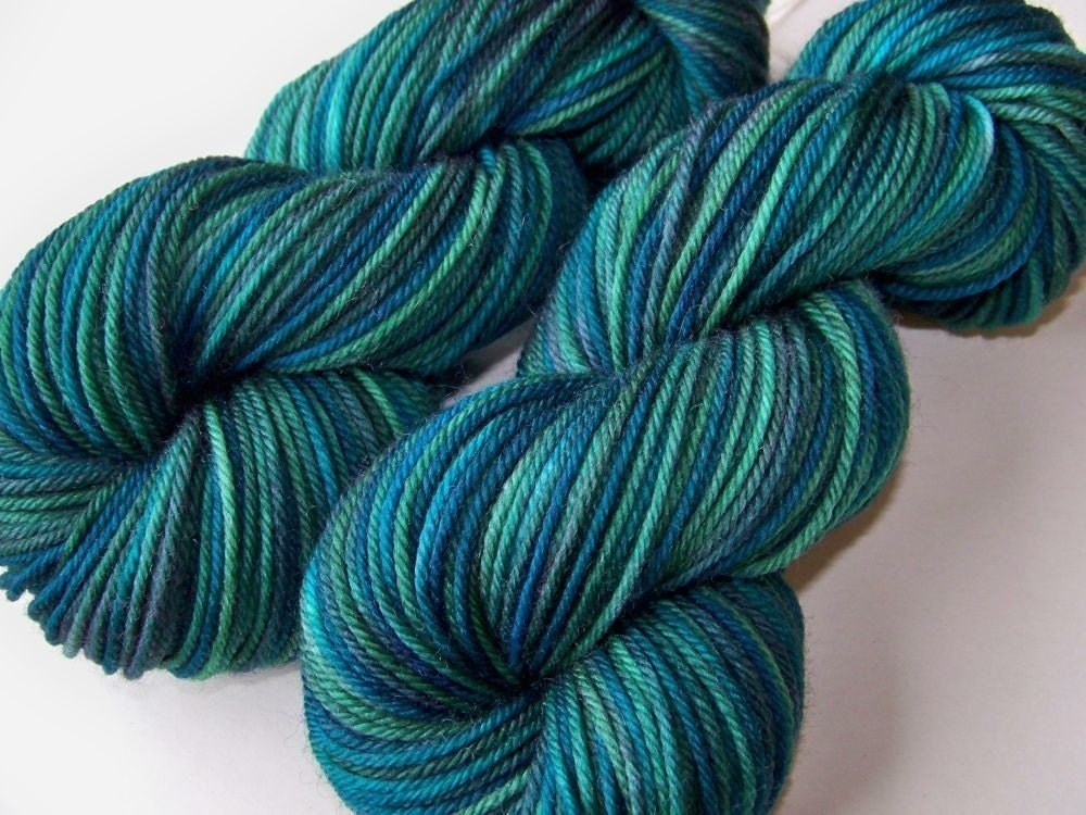 Hand Painted Soft Washable Worsted --  Blue Agate Blues
