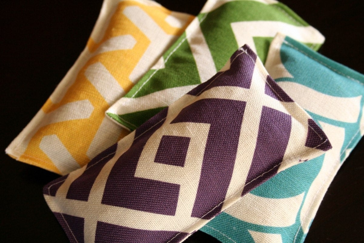 Mod Quad  Lavender and Chamomile Sachets by cicadastudio on Etsy