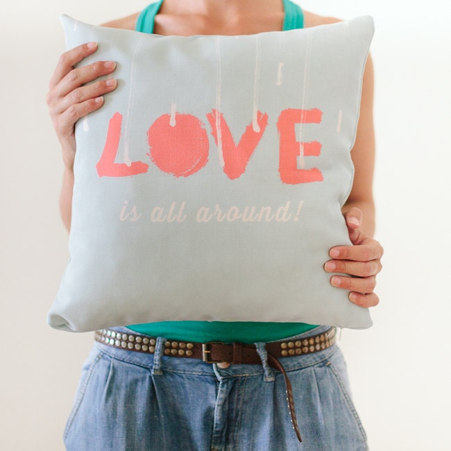 Pillow Cover, Throw Pillow, Mint Pillow, Coral, Nursery Room Pillow, Love Pillow, Typography, 16x16 Pillow Home Decor - Love is all around - hellodesignsstudio