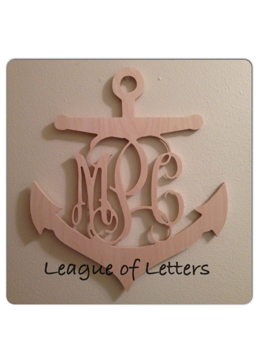 36 inch anchor wooden monogram letters for 36 inch wooden letters