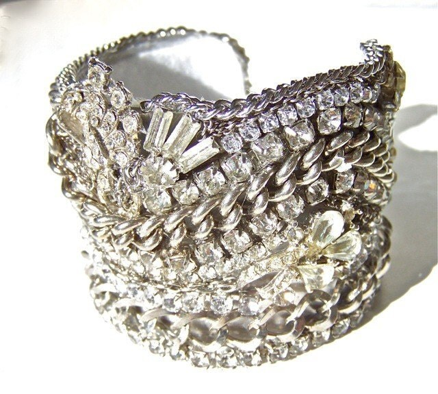 Wide Rhinestone Cuff Bracelet One of a Kind by dabchickvintagegems