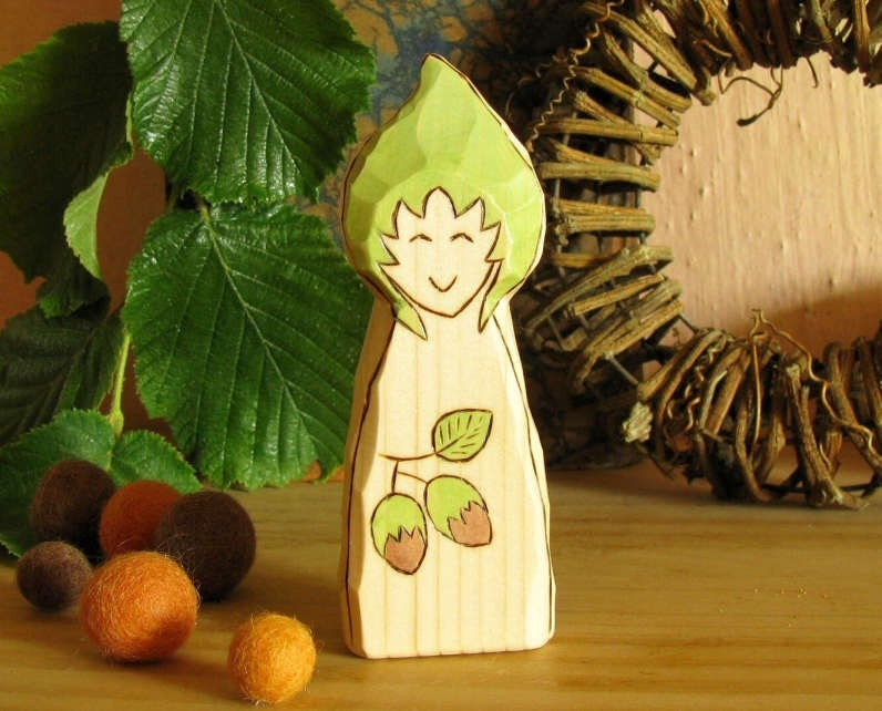 Hazelnut Gnome - waldorf inspired wooden toy