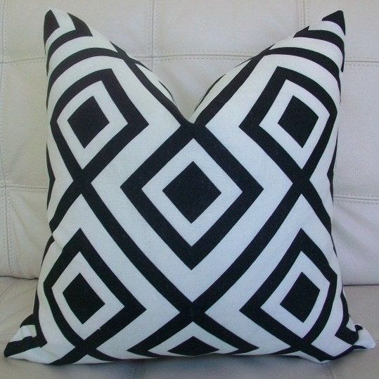 Decorative Designer Pillow Cover - 18X18 - David Hicks for Lee Jofa - Groundworks - LA FIORENTINA - Geometric Print in Black and White