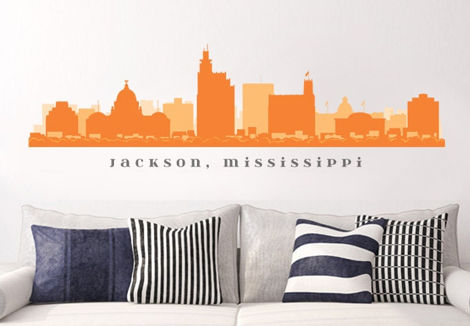 Jackson mississippi skyline wall decal art vinyl by for Real estate office wall decor