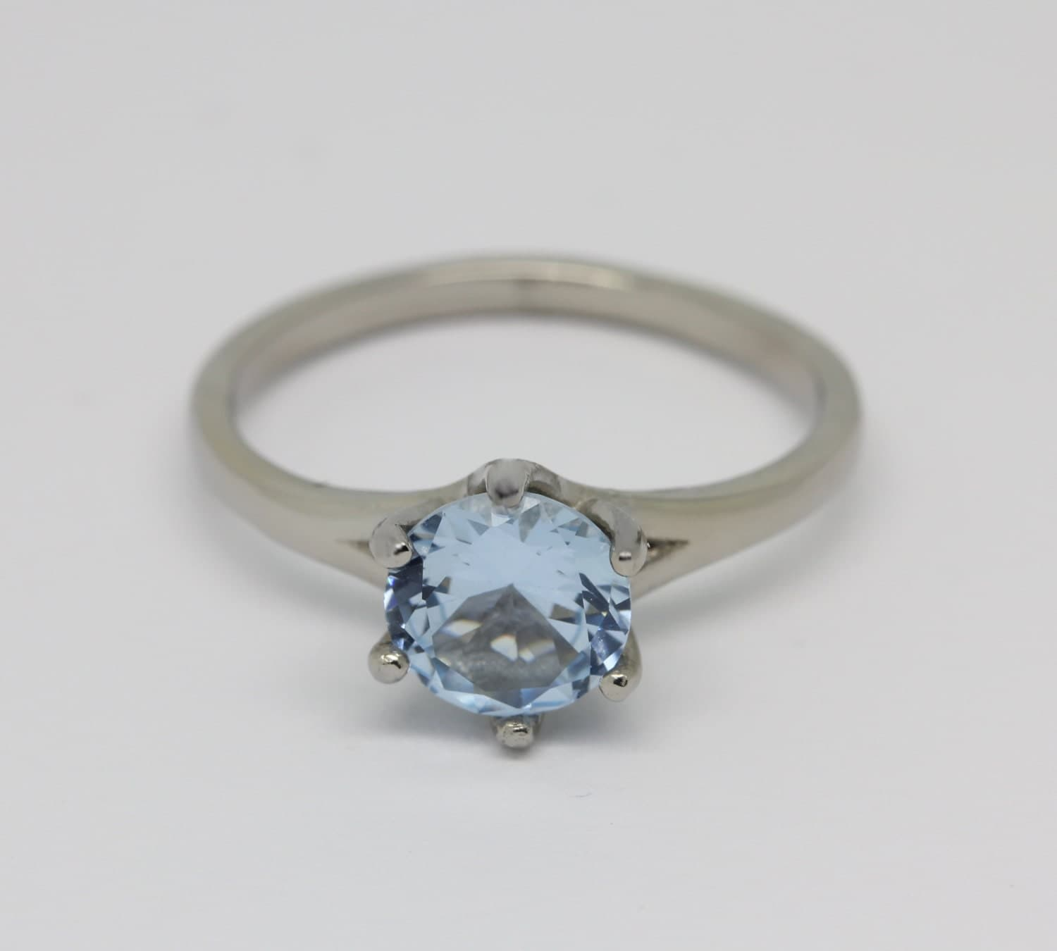 Natural 1.5ct aquamarine solitaire ring in Titanium or White Gold  engagement ring  wedding ring  handmade ring