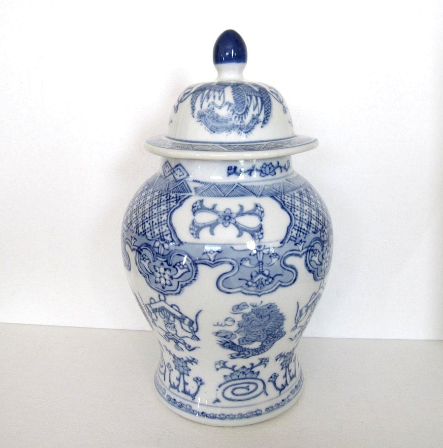 Vintage Asian Ginger Jar Blue Amp White Dragon And By