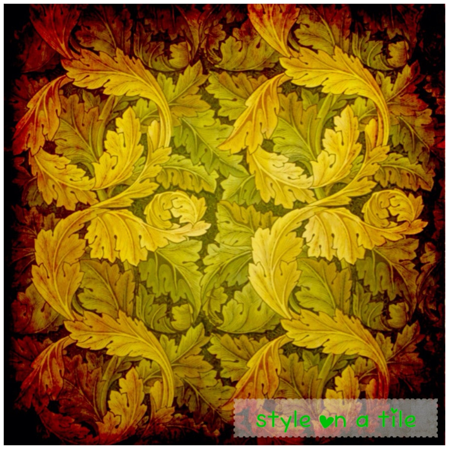 Lovely William Morris Autumn Acanthus design square placemat table mat server centrepiece
