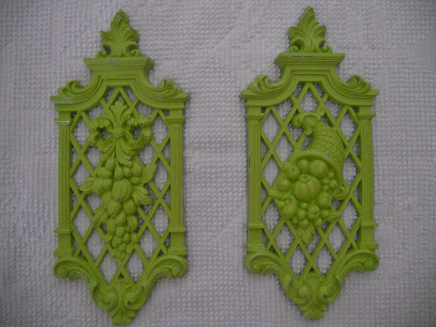 Upcycled Vintage Syroco Wall Decor In Lime Green By Chichaven