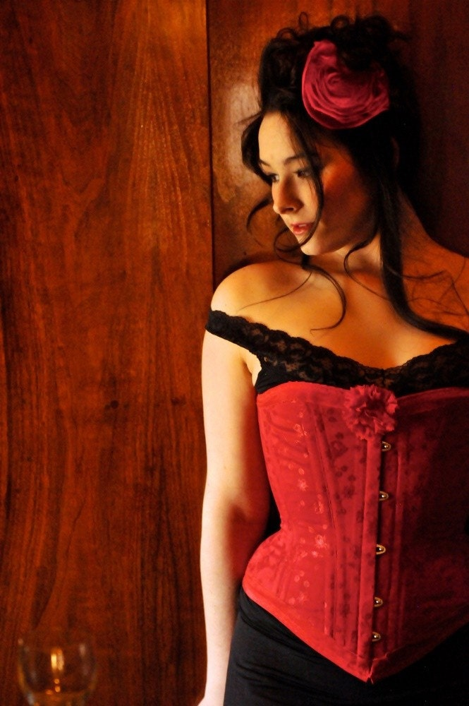 romantic red roses   ... corset overbust red brocade coutil