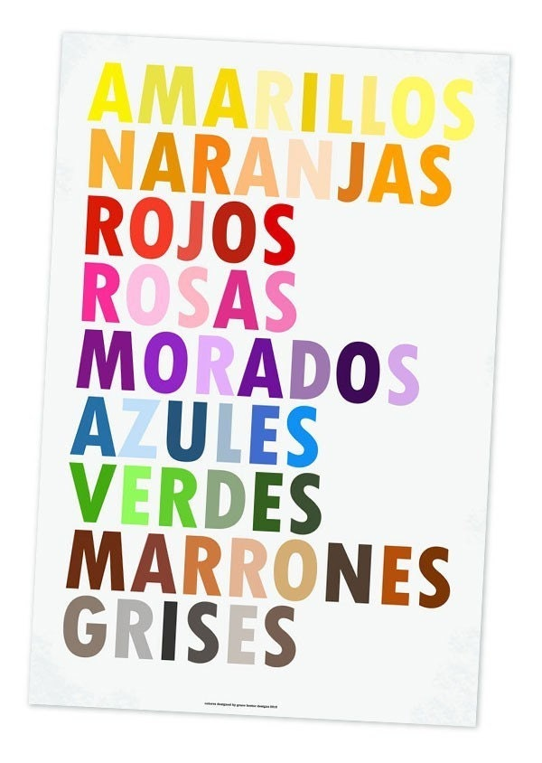 Colors in Spanish Poster, Colores en Espanol, Large 20 X 30