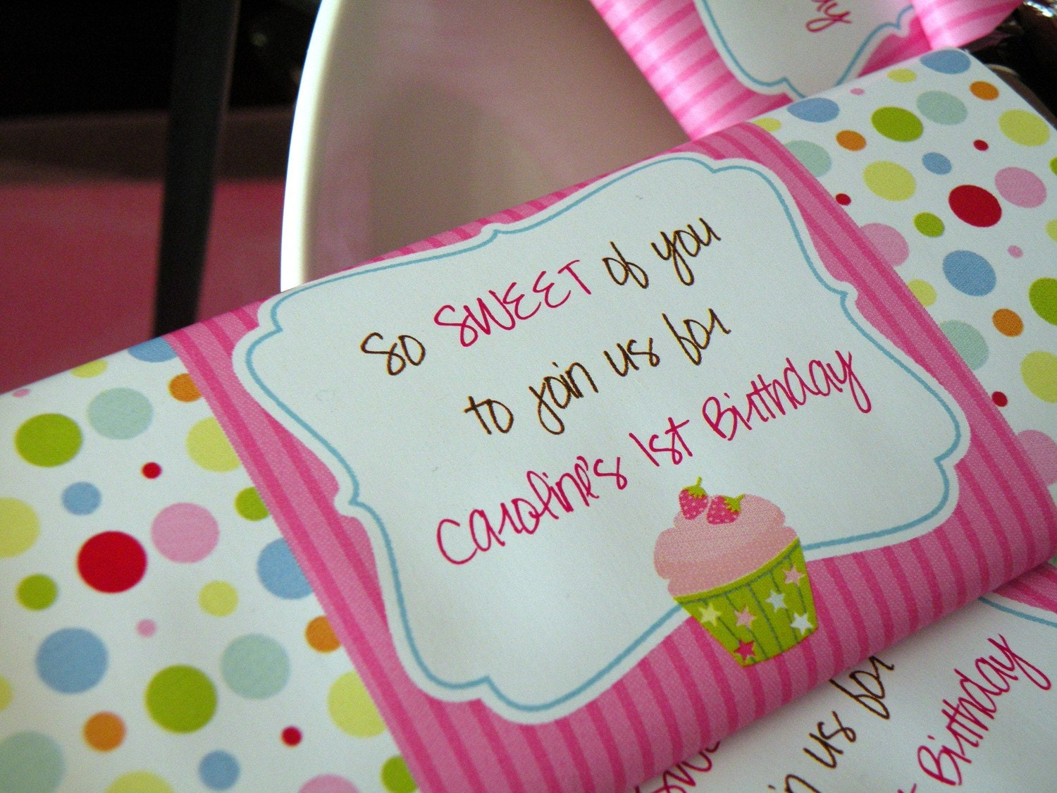 Cupcake Theme Birthday Party Candy Bar Wrapper by PartySoPerfect