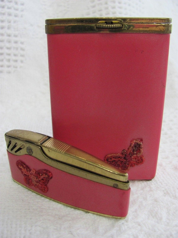 Sassy Vintage Red Princess Gardner Cigarette Case and Lighter Set
