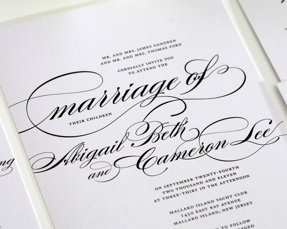 Calligraphy Wedding Invitations Marriage Sample Just A