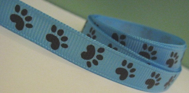 Light Blue Grosgrain Ribbon with Brown Paw Print Pet Print in 3/8 inches wide Cat Dog BLUE