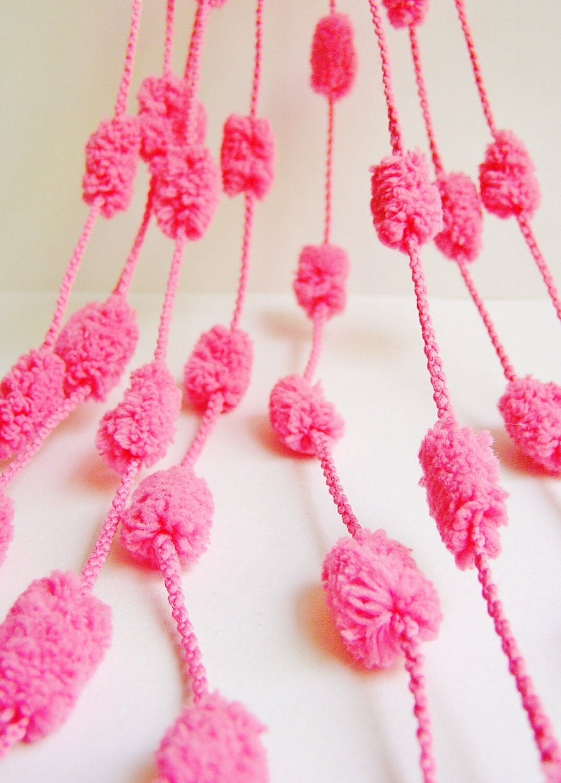 Bubble Gum Pink lush Pom Pom Garland/ Trim