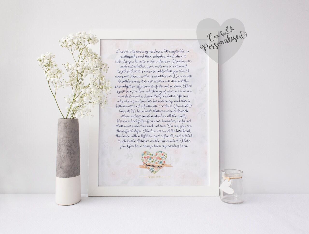 Personalised Custom Poem Print My Words Wedding Anniversary Gift Wedding Reading Wedding Vows 1 Year Anniversary Bereavement gift