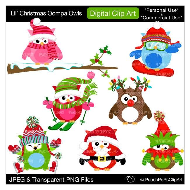 clip art owls clipart reindeer santa elf - Lil Christmas ...