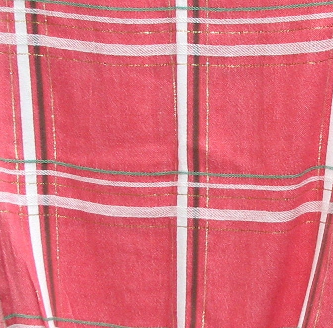 red plaid bates vintage curtains mid century by
