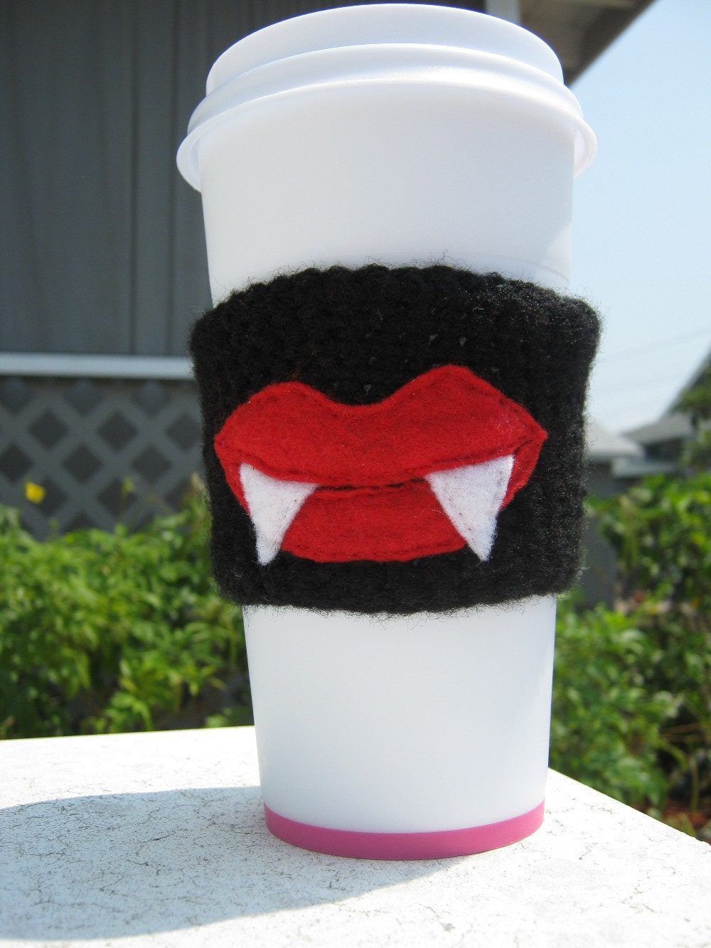 Vampire Fangs Coffee Cozy Fangtastic by PinkFrog4U on Etsy from etsy.com