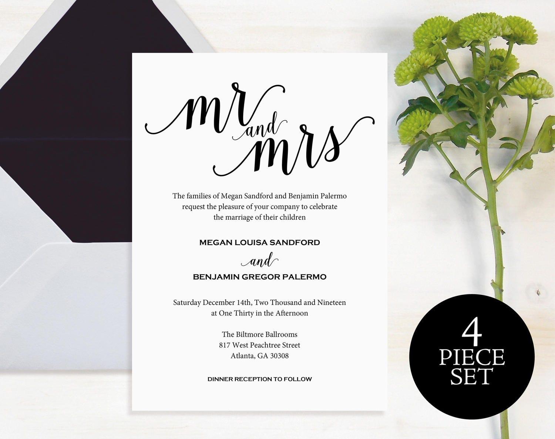 Mr and Mrs Wedding Invitation Wedding Invitation Template Wedding Invite Printable Wedding Template Invitation Instant Download MMPB10