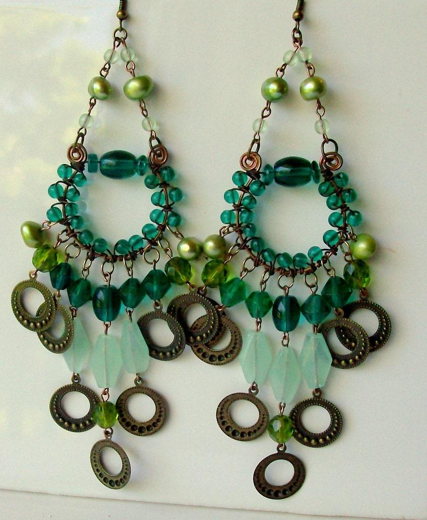 Emerald Green Copper & Brass Chandelier Earrings - Bohemian - Gypsy - Wire Wrapped - stoneandbone