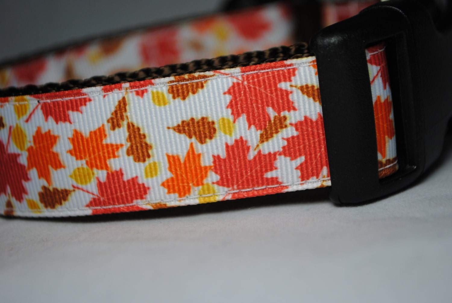 "Fall Leaves Brown, Orange, Red and Yellow 1"" Width Adjustable Dog Collar - Also available as a Martingale - swankypaws"