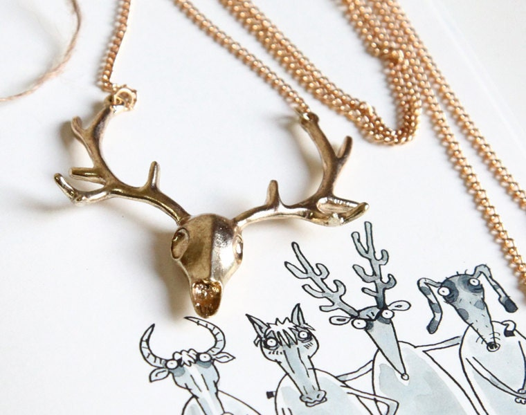 vintage style elk deer antlers necklace with gift bag