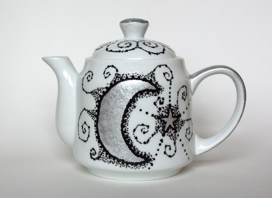 Silver Moon and Star Tea Pot - Personalized