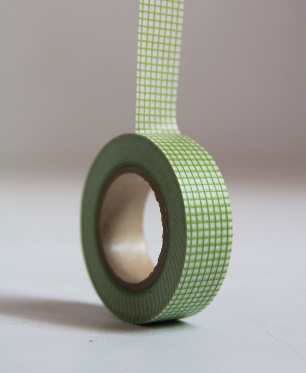 GREEN GRID Japanese Washi Tape- Single Roll 15mm