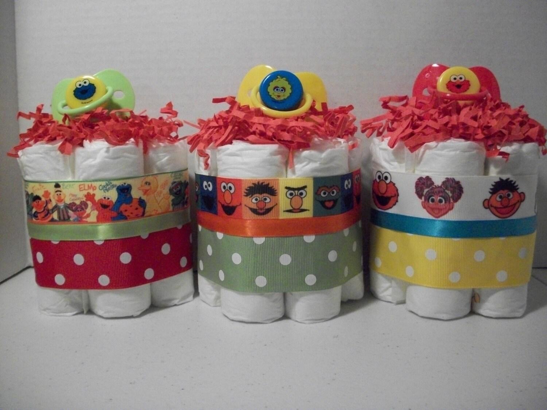 cookie monster big bird neutral boy girl mini diaper cakes baby shower