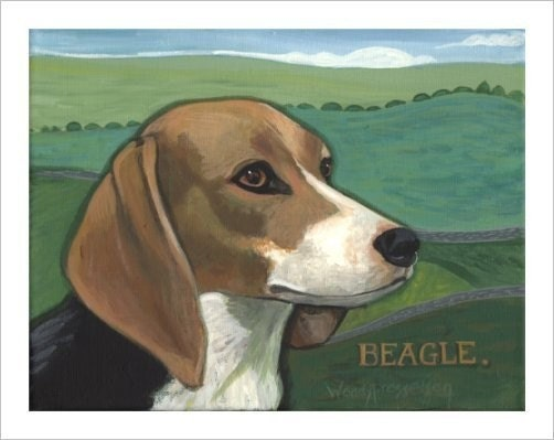 BEAGLE DOG Hunting Dog SIGNED PRINT Wendy Presseisen CANINE HOUND PUPPY
