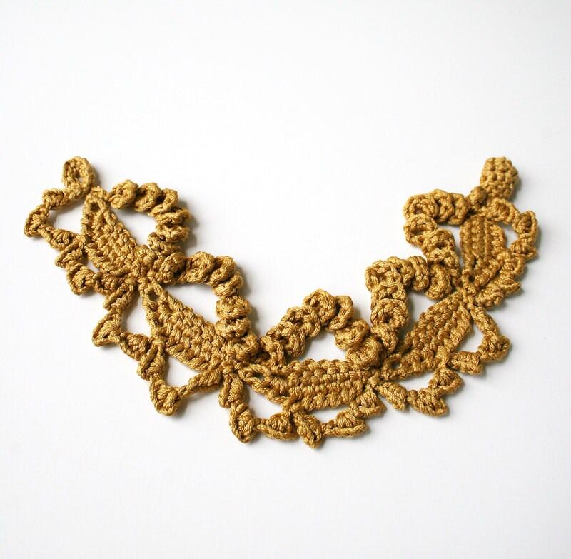 Silk Lace Bracelet - Contemporary Fiber Art Jewelry - Crochet - Golden Yellow - TickledPinkKnits