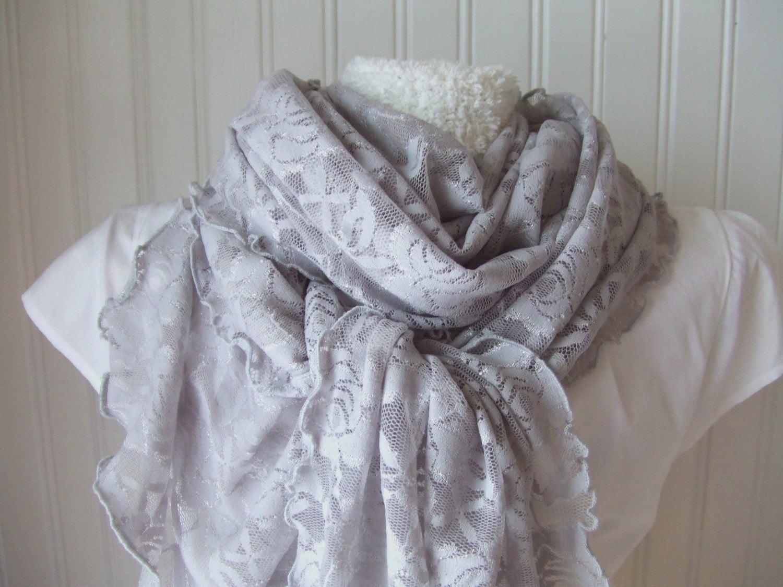 Grey Lace Ruffle Scarf....Ultra Soft