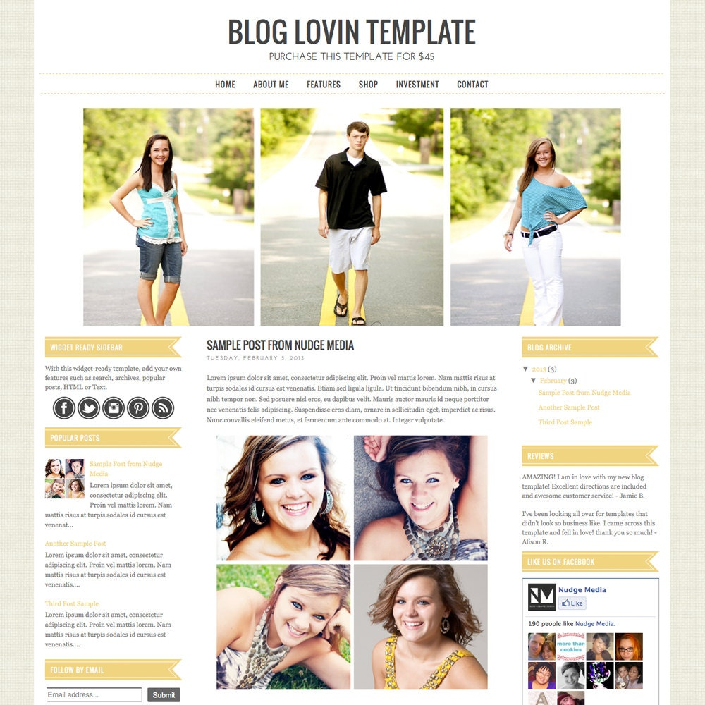 Premade Blogger Template 3 Column Photography By