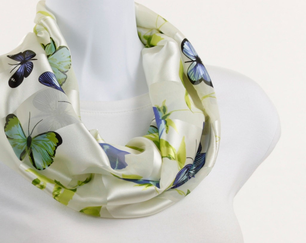 Sheer and Satin Infinity Scarf - Butterfly and Floral Design - neckStyles