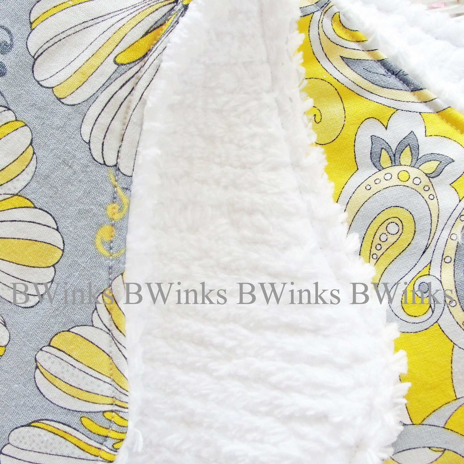NEW - BWinks' Set of 2 contoured burp cloths  cotton fabrics and white chenille Modern Yellow and Gray Designer