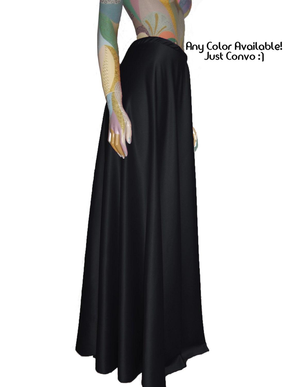 black satin skirt maxi formal flowy skirt sizes xs s m l