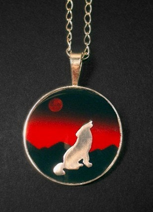 Instinct - Sterling Silver Picture Pendant with Silver Wolf Sillouette