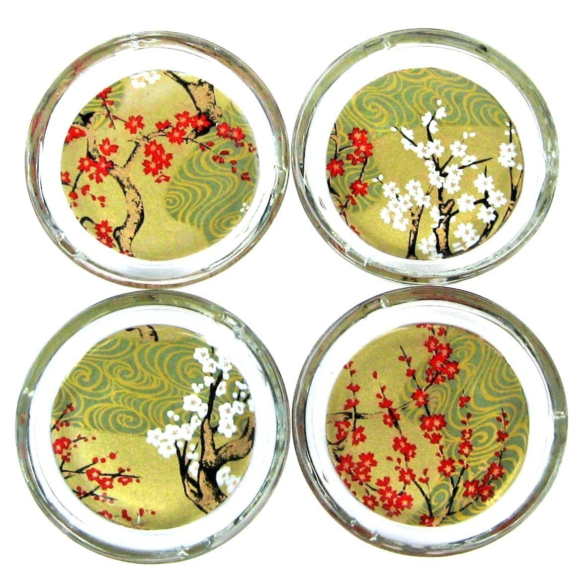 branching out - chiyogami and glass coasters/ ashtrays